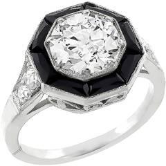 1.74ct Old Mine Cut Diamond Onyx Platinum Ring