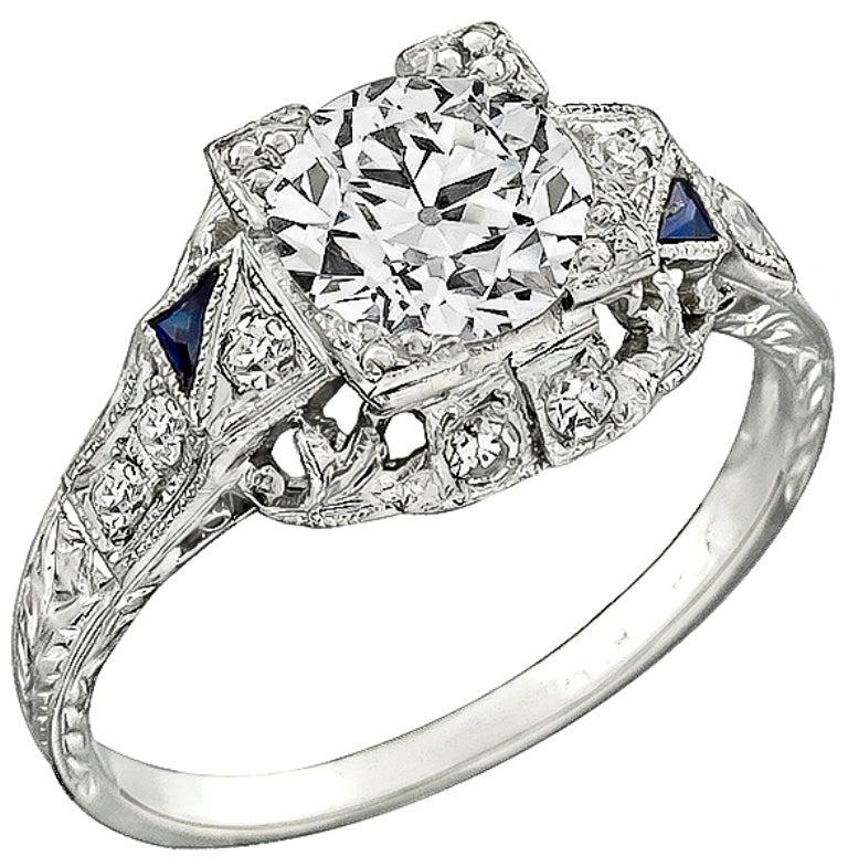 Art Deco 1.04 Carat GIA Cert Diamond Platinum Engagement Ring