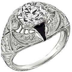 1.89 Carat GIA Certified Onyx Diamond Engagement Ring
