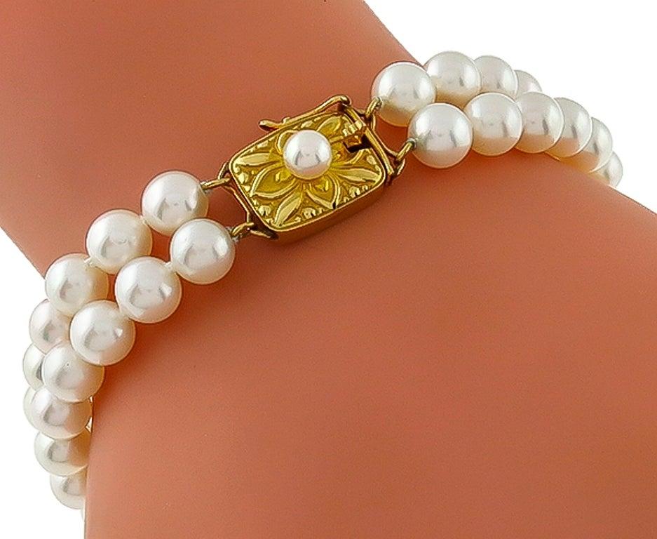 Mikimoto 2 Strand Pearl Bracelet For Sale at 1stdibs