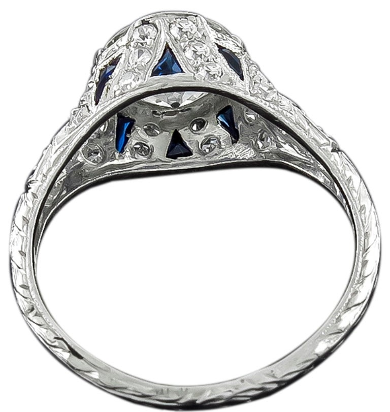 Vintage 1.70ct Diamond Sapphire Engagement Ring 2