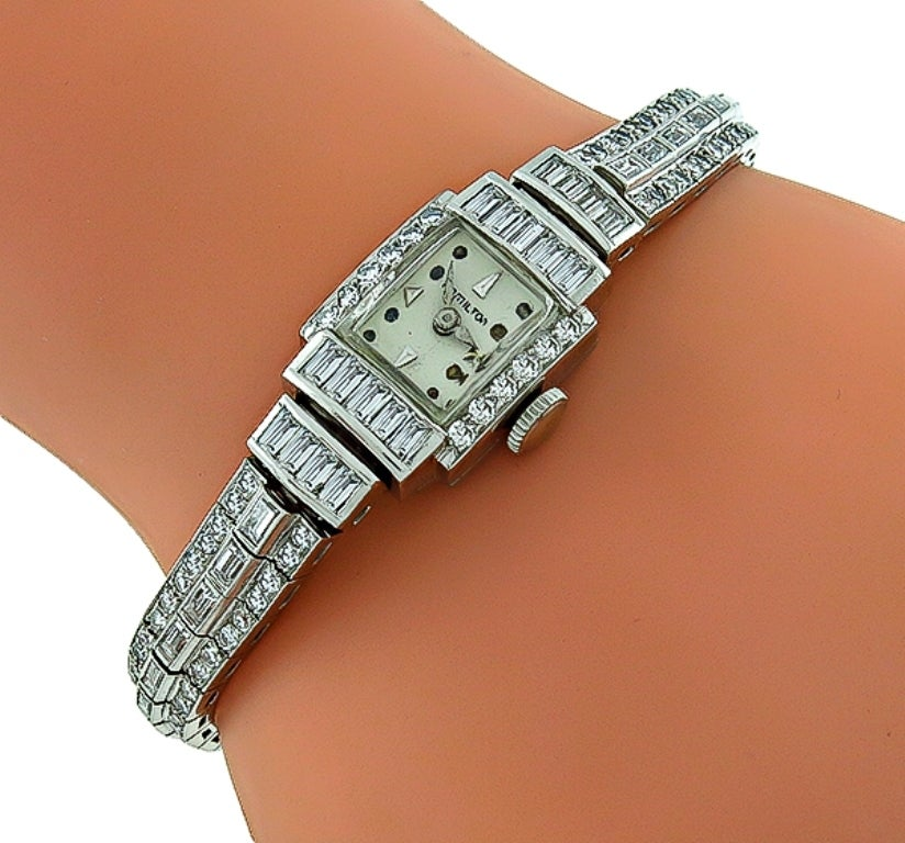 Hamilton Lady's Platinum 5.50 Carat Diamond Bracelet Wristwatch 2
