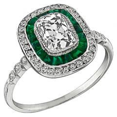 1 Carat Diamond Emerald Engagement Ring