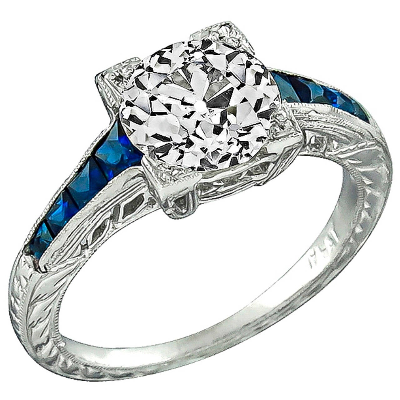 2.01ct. Old European Cut Diamond Sapphire Engagement Ring