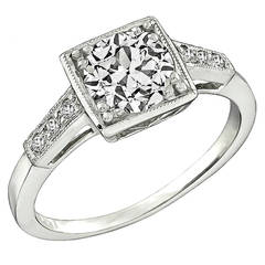 GIA 1.05ct Diamond Platinum Engagement Ring