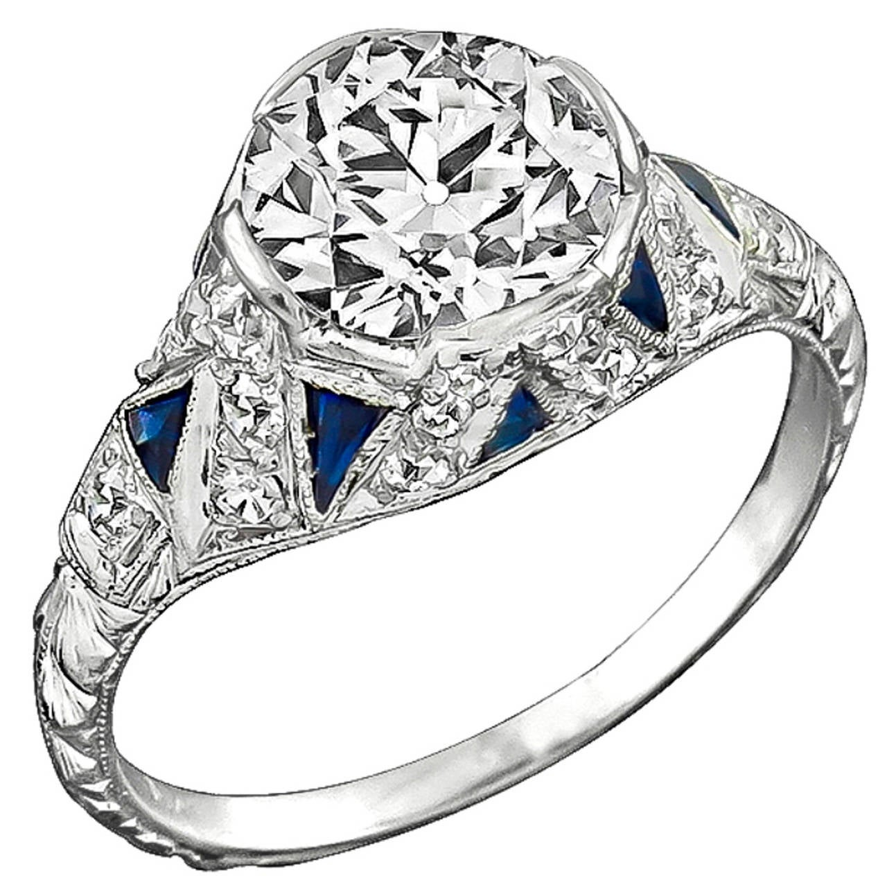 Vintage 1.70ct Diamond Sapphire Engagement Ring 1