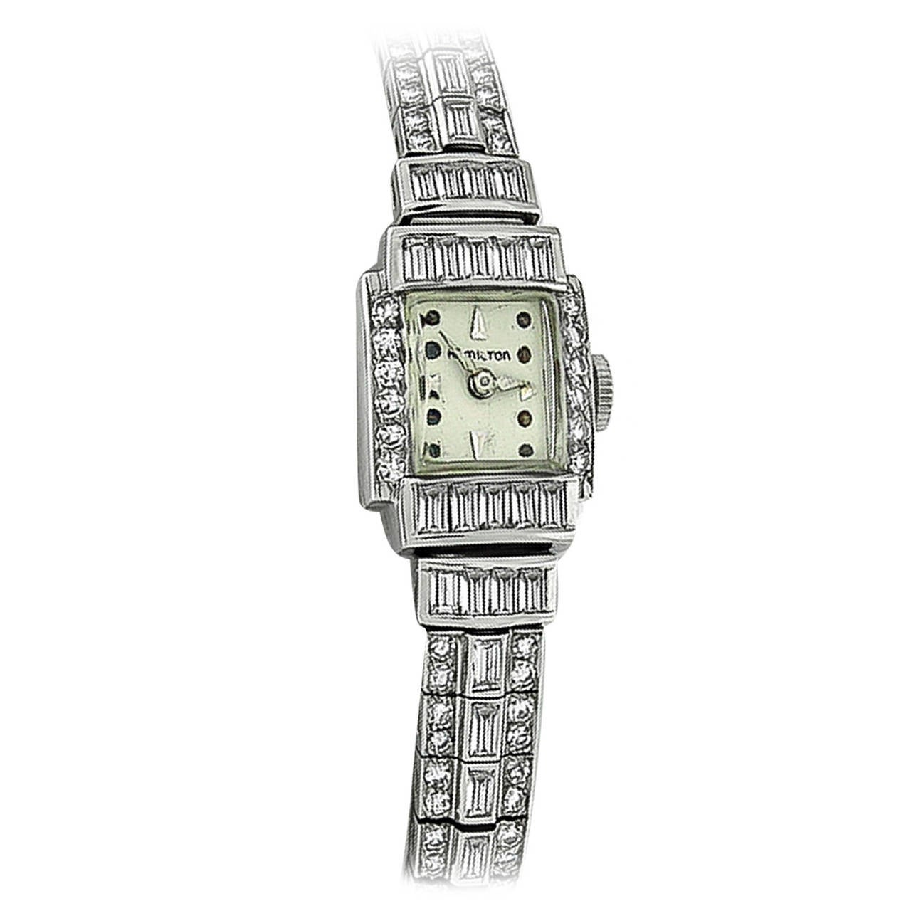 Hamilton Lady's Platinum 5.50 Carat Diamond Bracelet Wristwatch 1