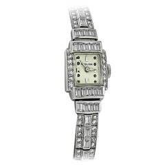 Hamilton Lady's Platinum 5.50 Carat Diamond Bracelet Wristwatch