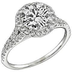 1.06 Carat GIA Cert Diamond Gold Halo Engagement Ring