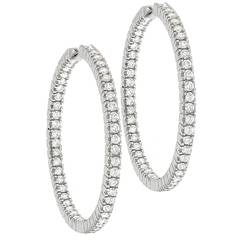 2.48ct Diamond Inside Out Gold Hoop Earrings