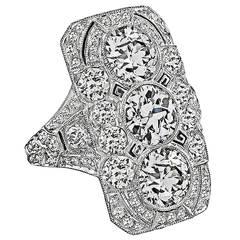 Breathtaking Art Deco 6ct. Diamond Platinum Ring