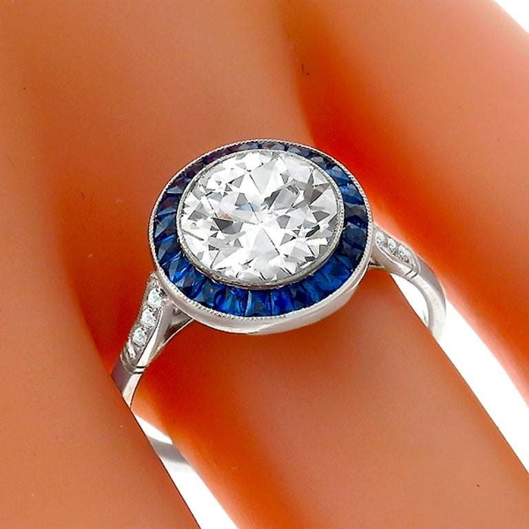 Impressive GIA 2.01ct Diamond Sapphire Halo Ring In New Condition For Sale In New York, NY