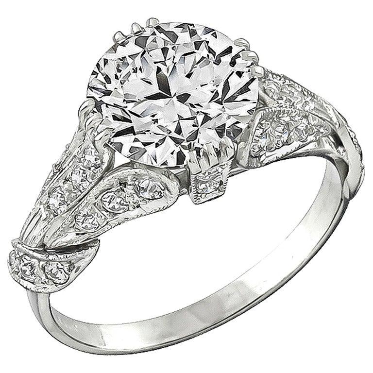 3.01 Carat GIA Certified Diamond Platinum Ring