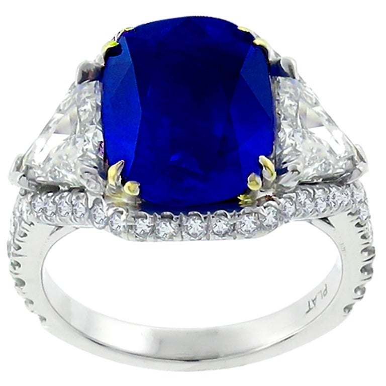 5.23 Carat Sapphire Diamond Platinum Engagement Ring 3