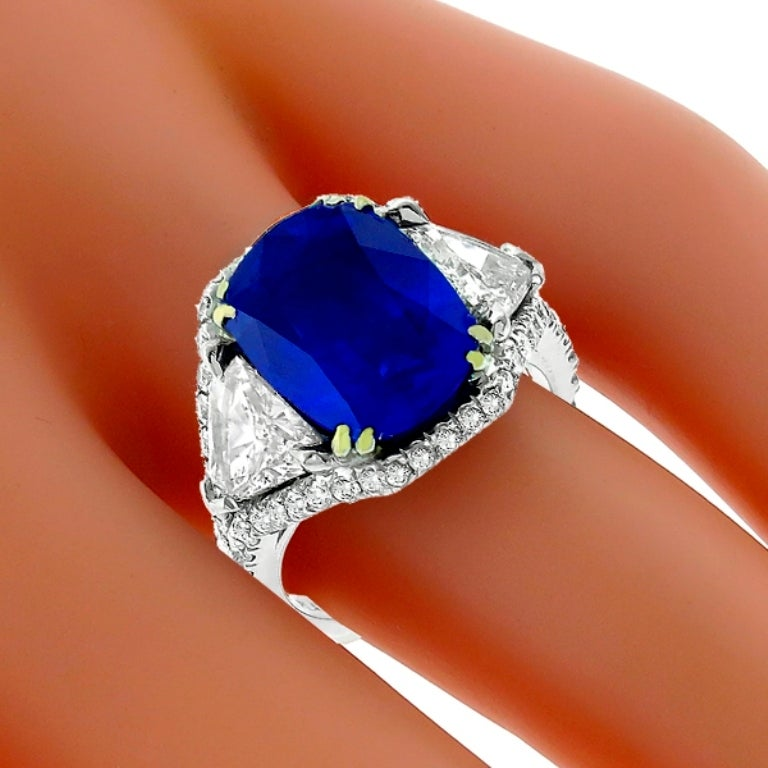 5.23 Carat Sapphire Diamond Platinum Engagement Ring 2