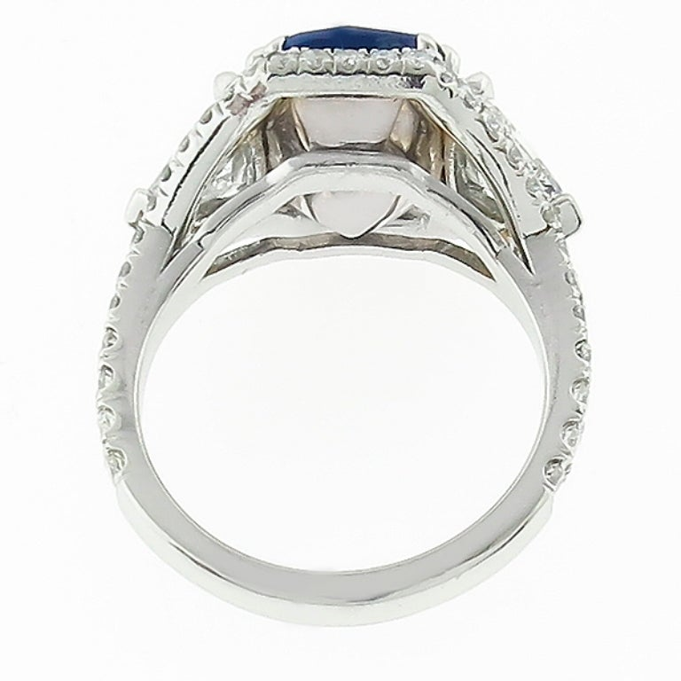 5.23 Carat Sapphire Diamond Platinum Engagement Ring 4
