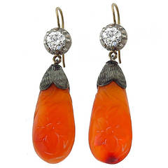 Victorian Carnelian Diamond Silver Gold Earrings