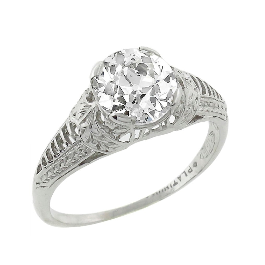 Edwardian GIA Cert 1.27 Carat Diamond Platinum Engagement Ring