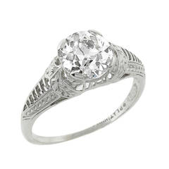 Edwardian GIA Cert 1.27 Carat Diamond Platinum Engagement Ring