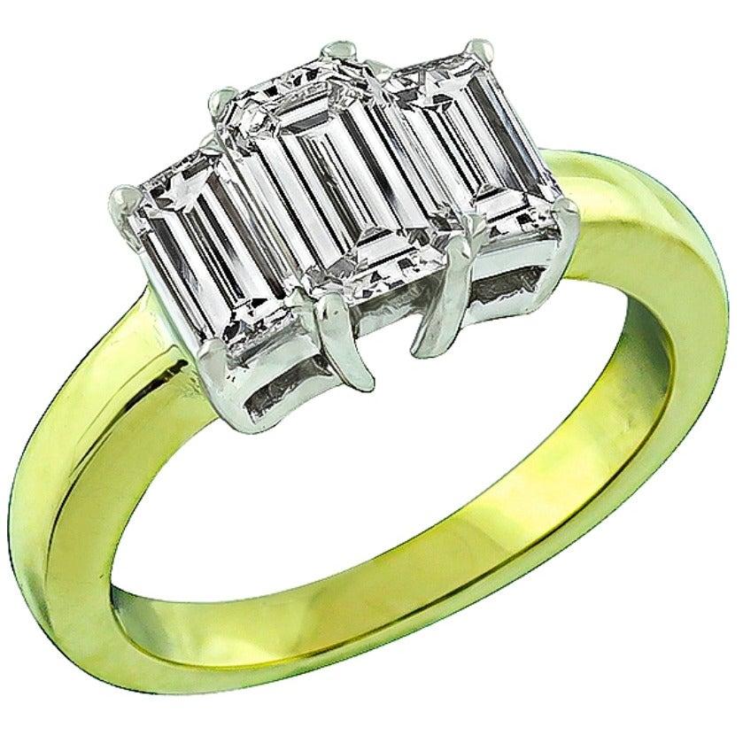GIA 1.05 Carat Emerald Cut Diamond Gold Engagement Ring