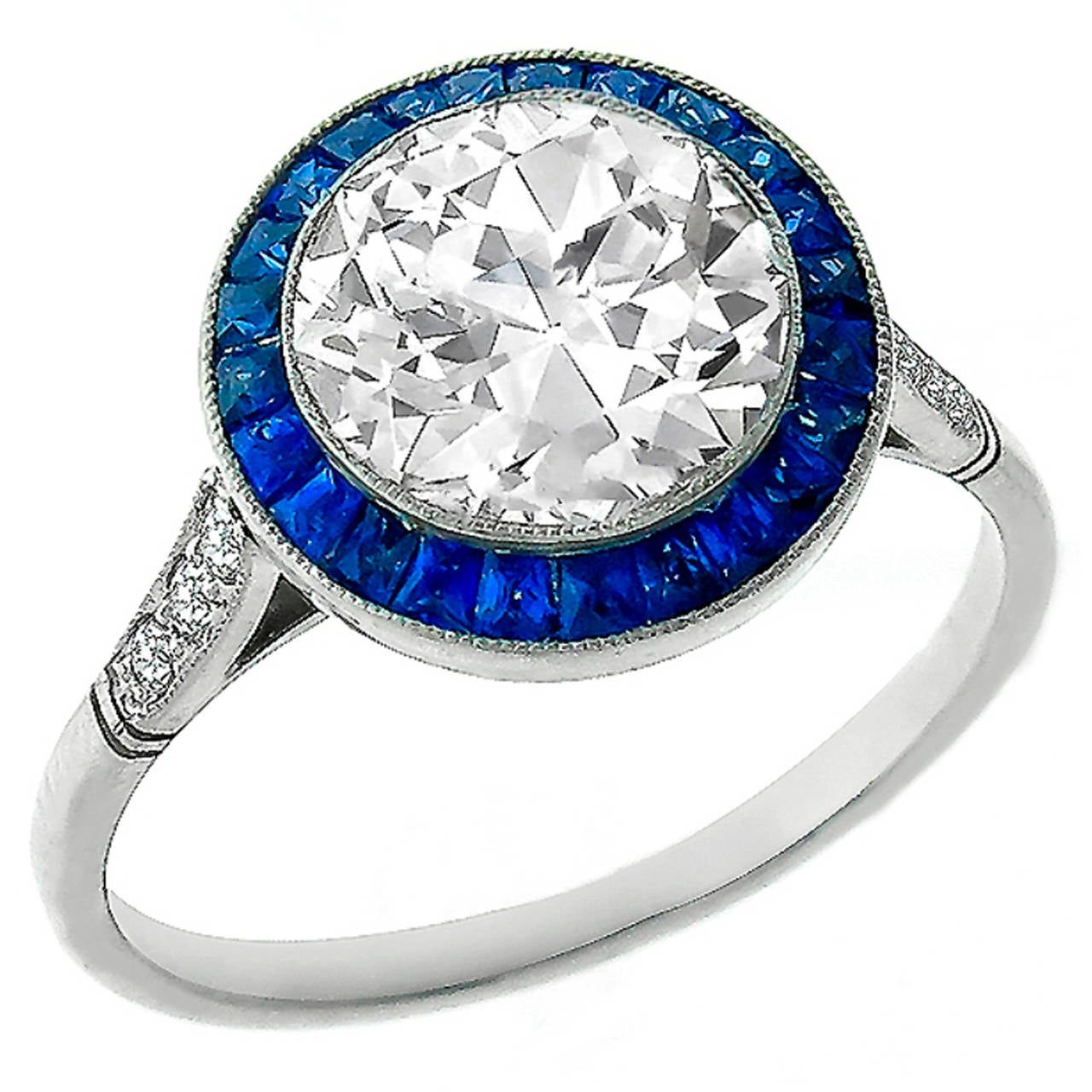 Impressive GIA 2.01ct Diamond Sapphire Halo Ring For Sale