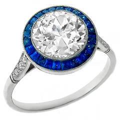 Impressive GIA 2.01ct Diamond Sapphire Halo Ring
