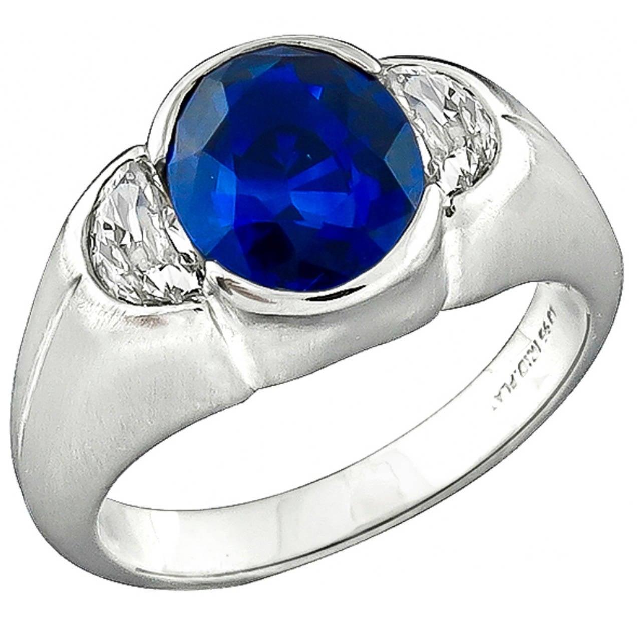 Antique 2.60 Carat Sapphire Diamond Platinum Ring