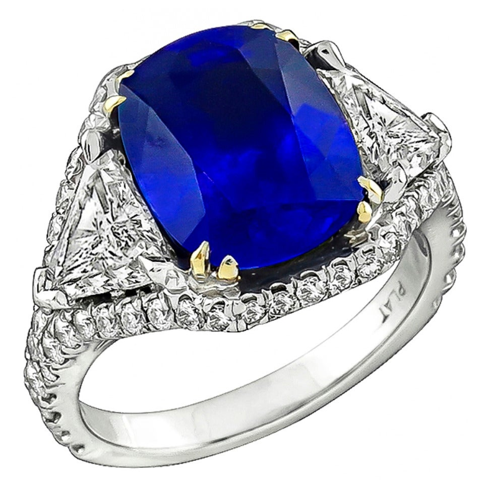 5.23 Carat Sapphire Diamond Platinum Engagement Ring 1