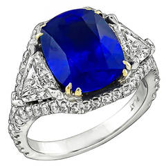 5.23 Carat Sapphire Diamond Platinum Engagement Ring