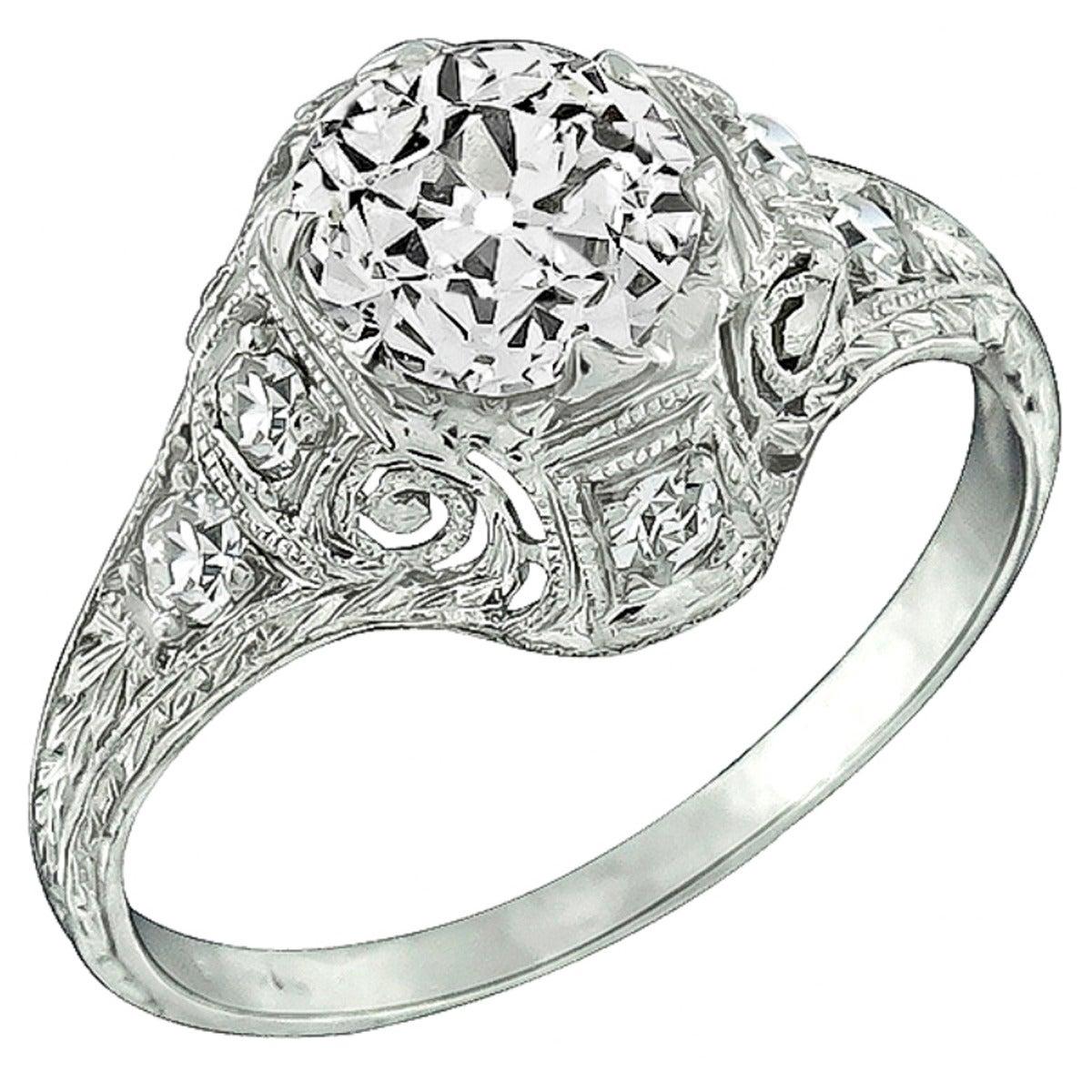 Edwardian 1 Carat Diamond Platinum Engagement Ring