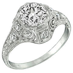Edwardian 1 Carat Diamond Platinum Engagement Ring