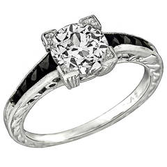 1.11 Carat Old European Cut Diamond Onyx Platinum Ring