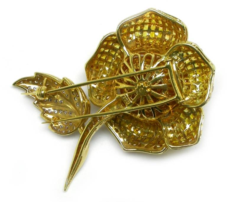Women's Golden Yellow  Sapphire Diamond Rose Pin For Sale