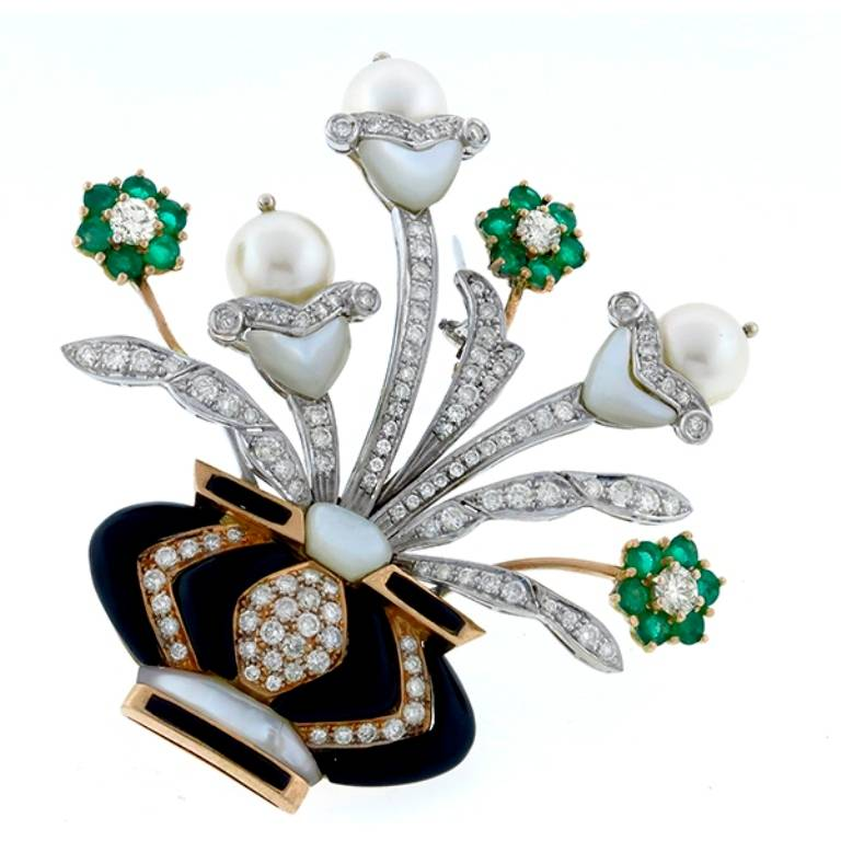 Pearl Onyx Mother Of Pearl Emerald Diamond Floral Vase Pin For Sale