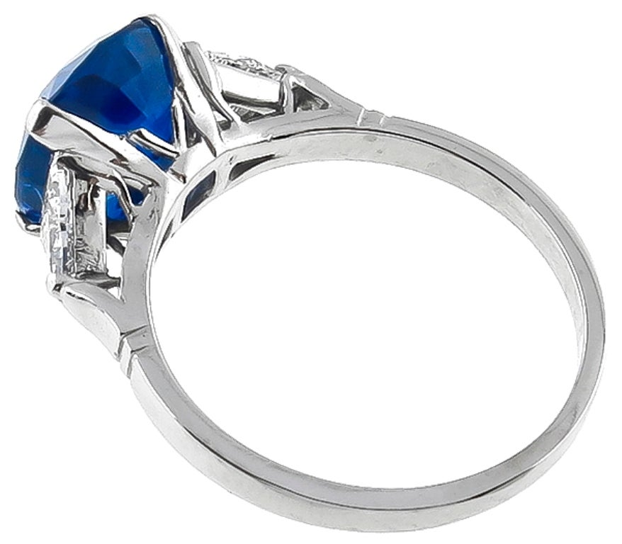 Women's 4.63 Carat Natural Cushion Cut Sapphire Diamond Platinum Ring For Sale