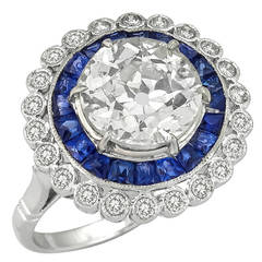 2.58 Carat Old European Cut Diamond Sapphire Gold Engagement Ring
