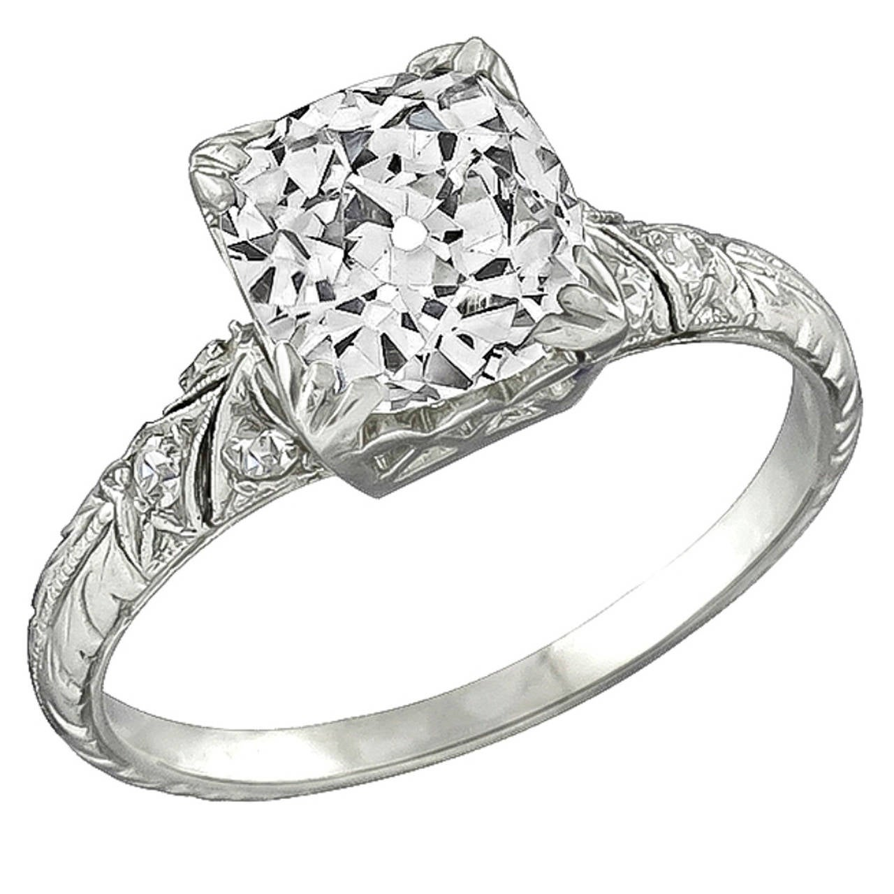 2 05 Carat Cushion Cut Diamond Platinum Engagement Ring For Sale at 1stdibs