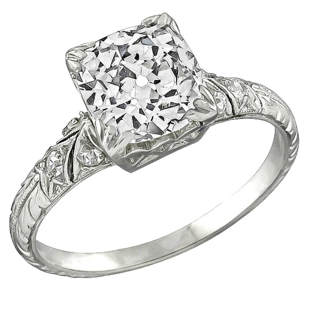 2.05 Carat Cushion Cut Diamond Platinum Engagement Ring