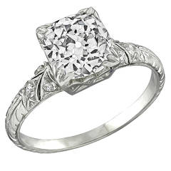 2.05 Carat Cushion Cut Diamond Platinum Engagement Ring