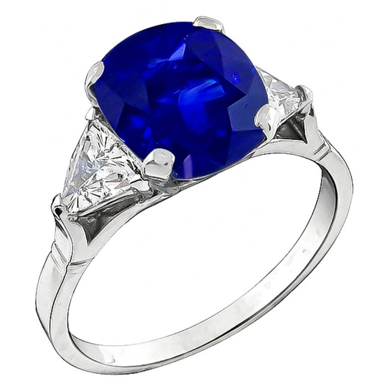 4.63 Carat Natural Cushion Cut Sapphire Diamond Platinum Ring For Sale