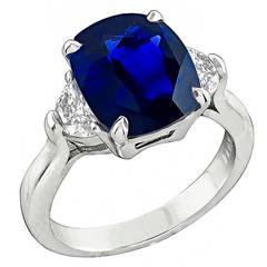 Enticing 5.17 Carat Natural Sapphire Diamond Platinum Engagement Ring