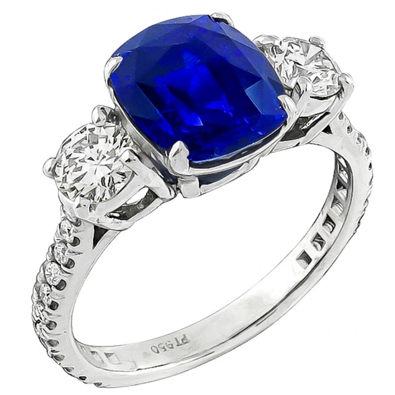 4.04 Carat Natural Sapphire Diamond Platinum Engagement Ring
