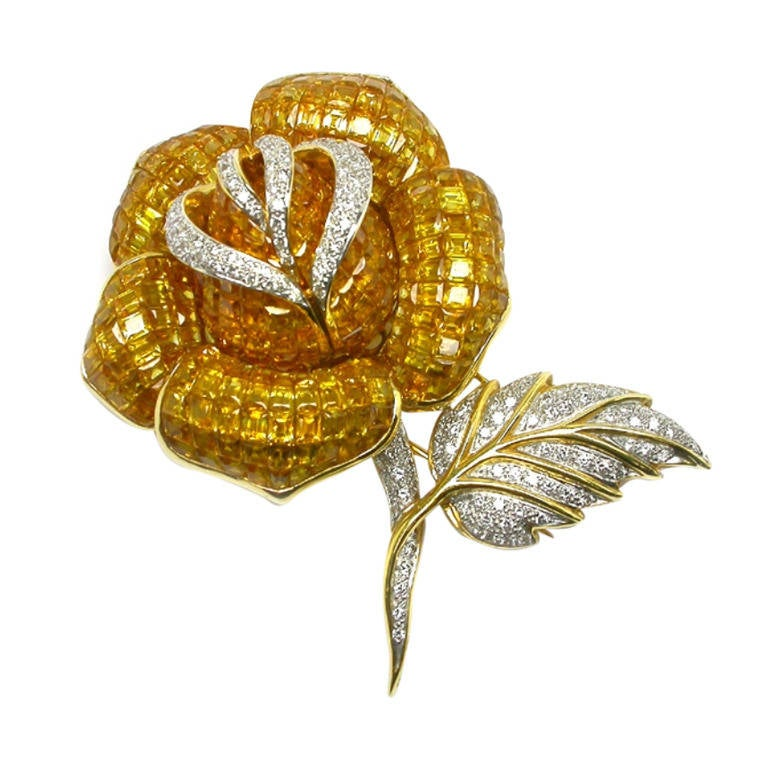 Golden Yellow  Sapphire Diamond Rose Pin For Sale