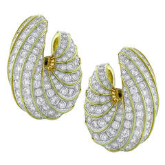 Large 15.50 Carat Creole Diamond Gold Shrimp Ear Clips