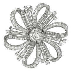 GIA 0.73 Center Diamond Platinum Flower Pin