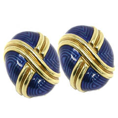 Blue Enamel Gold Cocoon Earrings