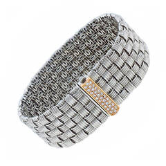 Roberto Coin Diamond Gold Weave Bracelet