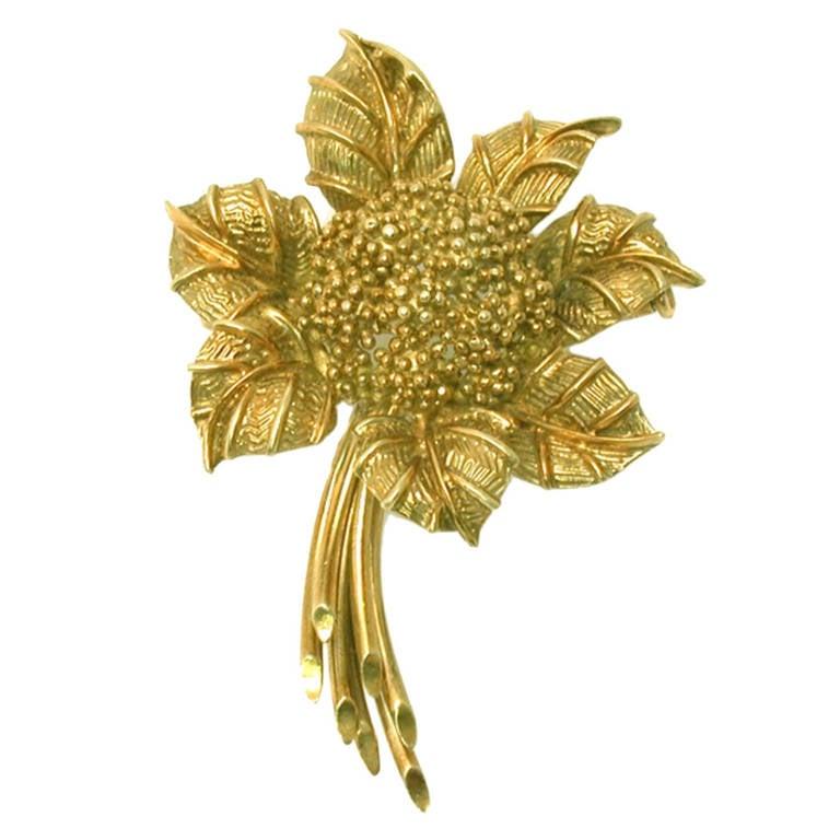 Bulgari 1960s Yellow Gold Flower Pin