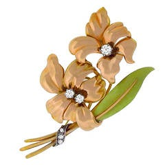 Retro Diamond Two Tone Gold Floral Pin