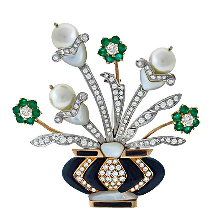 Pearl Onyx Mother of Pearl Emerald Diamond  Floral Vase Pin